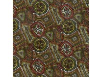 Birrong - Dot Art Gold, Red, Olive, White, Pink, Brown